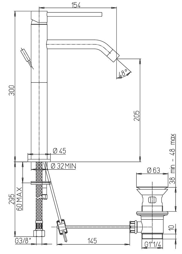 miscelatore lavabo alto paini cox a roma schema tecnico