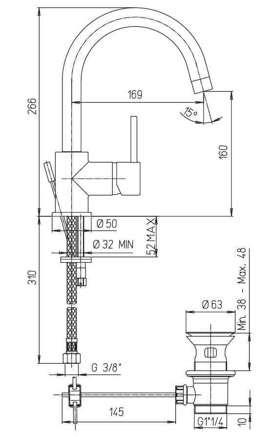 miscelatore lavabo girevole paini cox a roma schema tecnico