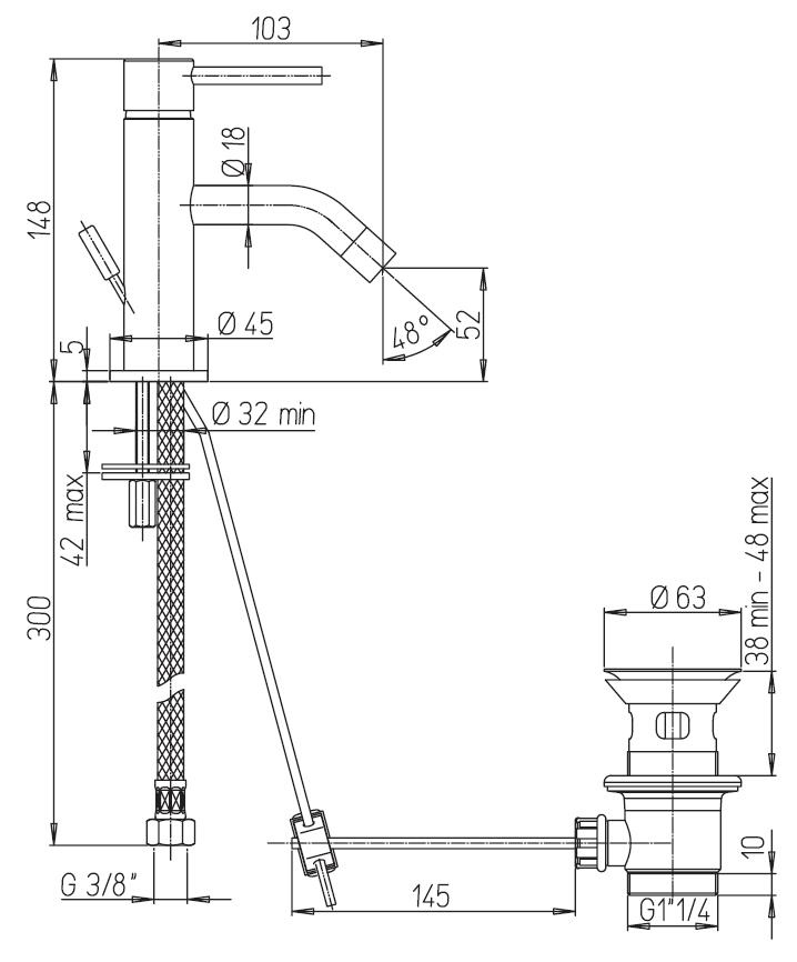 miscelatore lavabo paini cox a roma schema tecnico