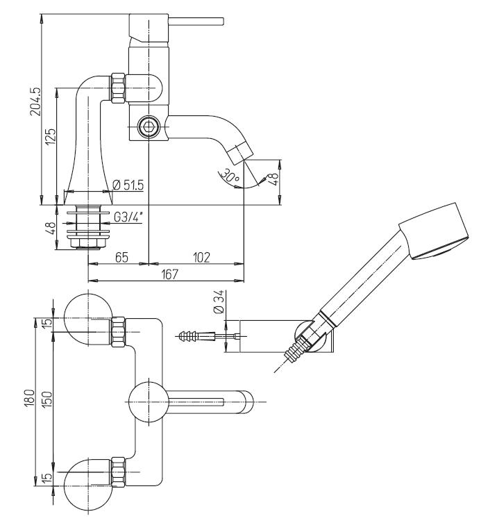 miscelatore vasca esterno con doccetta duplex paini cox a roma schema tecnico